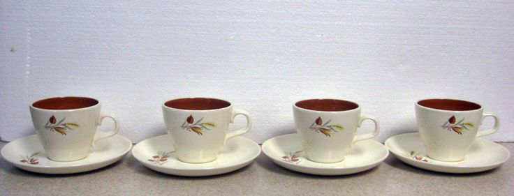 Taylor Smith Taylor - Autumn Harvest Pattern - 4 Cups and 4 Saucers - Ever Yours Shape - Mid Century White and Brown
