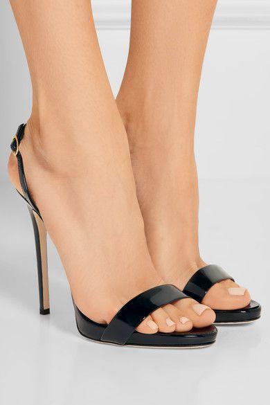 Giuseppe Zanotti - Sophie Patent-leather Slingback Sandals - Black - IT36.5