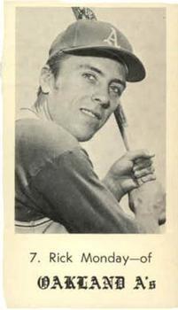 1969 Bob Solon Jack in the Box Oakland Athletics #14 Rick Monday Front