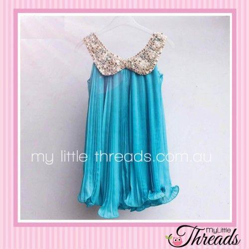 Chiffon Dress with Sequin Collar Frozen Blue