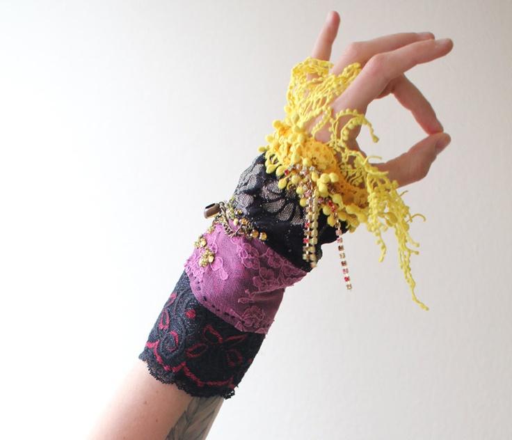 Embroidered Cuff Bracelet, Yellow Daisies, Gray Wool Felt, Flower Embroidery  Bracelet, Blue Crochet Bracelet, Orange Blossoms Jewelry