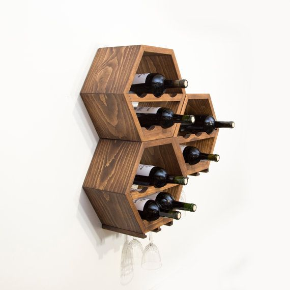 Modular Wine Racks - Mid Century Modern - Kitchen Decor - Hexagon Wine Rack - Honeycomb Wine Storage - Great Wedding Gift - OOAK - Set of 3