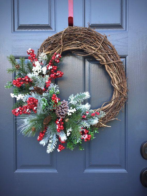 Winter Wreaths Christmas Wreaths Holiday by WreathsByRebeccaB