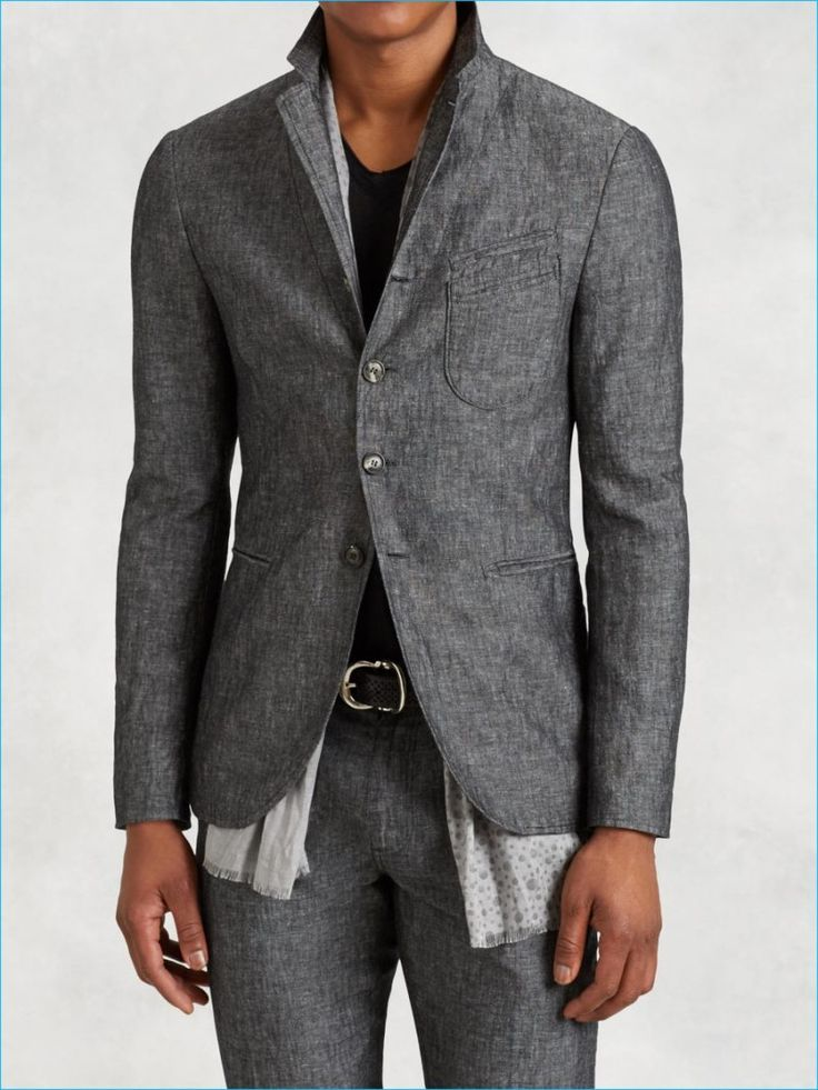 John Varvatos Cotton Linen Stitch Through Jacket