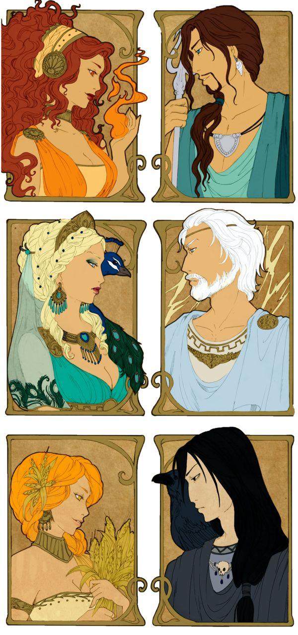 - Greek Gods I - by ooneithoo on DeviantArt  Hestia, Poséidon, Héra, Zeus, Déméter & Hadès