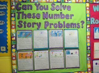 Maybe an idea for open house? Kids could write and solve their own story problems. Maybe, parents can do at open house for kicks and giggles.