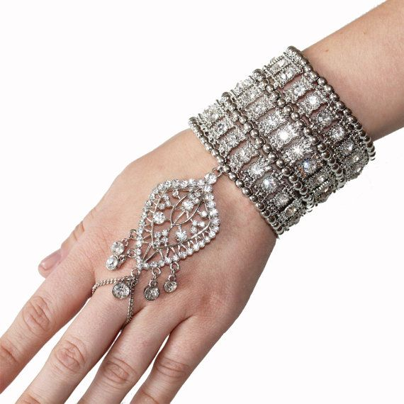 Kristin Perry Accessories. 1920's Great Gatsby Inspired Crystal Bracelet Hand Chain.