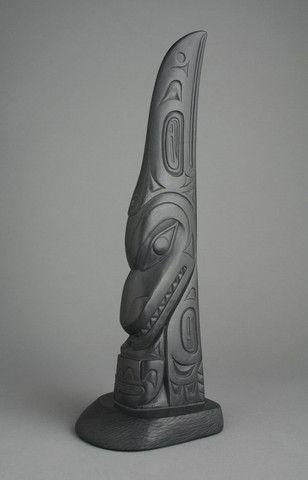 "Haida Raven Inside of the Killerwhale - Argillite 12""x4""x3"" - Gary Minaker Russ (Haida)"