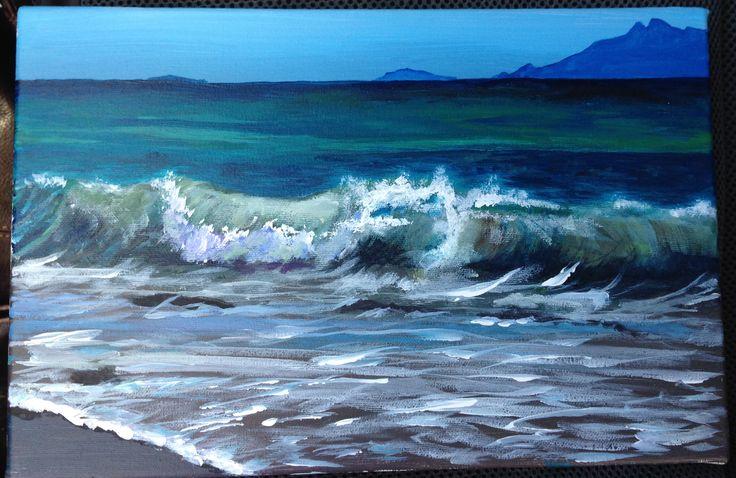 Poor Knights Island Northland New Zealand.  F.  Lockwood . Acrylic on Canvas. April 2015.