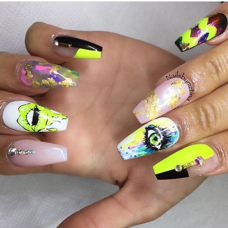 Nail art stiletto nails neon crazy Swarovski crystals - 299 Best Nail Art Images On Pinterest Nail Arts, Beautiful And