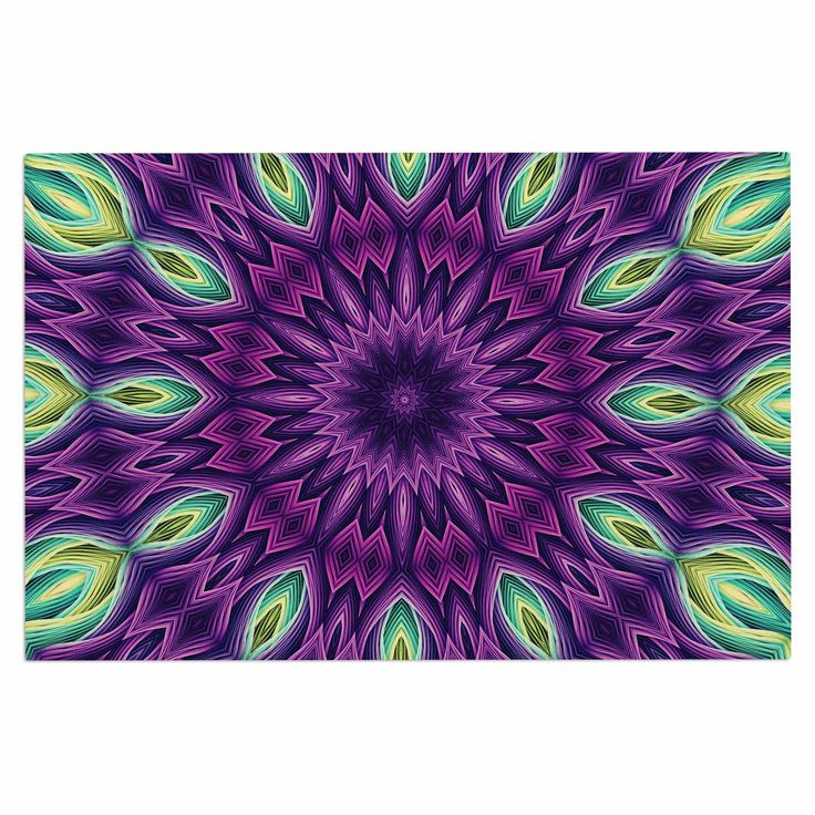 "Sylvia Cook ""Zapped - Purple"" Purple Green Decorative Door Mat"