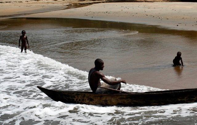Kribi fishing canoe in South Cameroon.