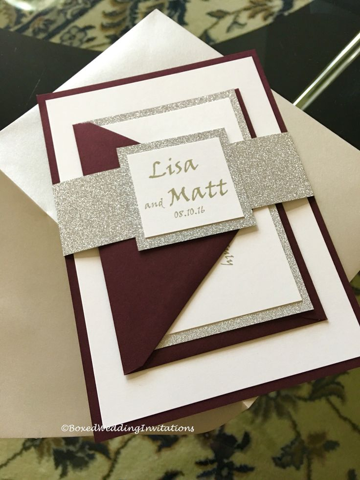 Our beautiful Lisa invitation suite in burgundy, off white and silver!   See…                                                                                                                                                                                 More