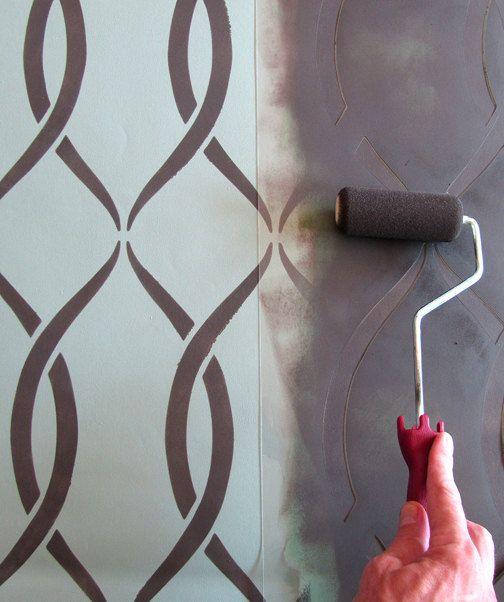 Stencil pattern Entwined - Reusable stencils just like wallpaper - DIY decor - $39.95