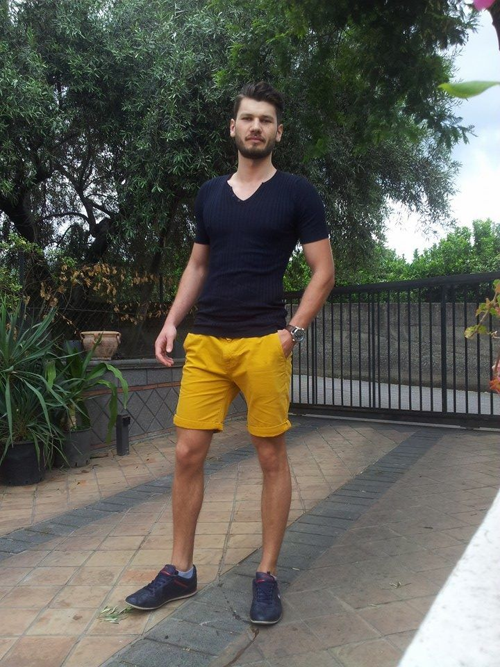 19 best yellow shorts images on pinterest  men fashion