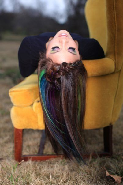 Hair Chalking Dark Hair... Love the peacock colors!