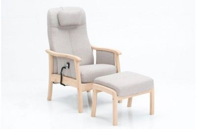 Frida hvilestol stuffed armchair oak light grey motor lift danish design hjort knudsen www.helsetmobler.no