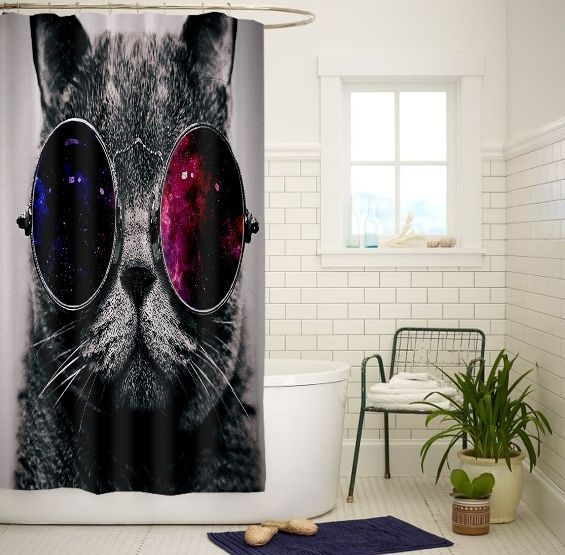 Steampunk Cat Galaxy Eye High Quality Custom Shower Curtain Size 60x72 and 66x72 #Unbranded