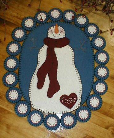 snowman wool applique penny rug