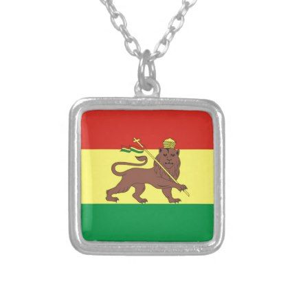 Old Ethiopian Flag with Lion of Judah Silver Plated Necklace - jewelry jewellery unique special diy gift present