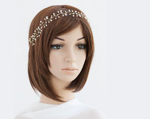 Pearl headpiece Gold bridesmaid headpiece Crystal by ArsiArt