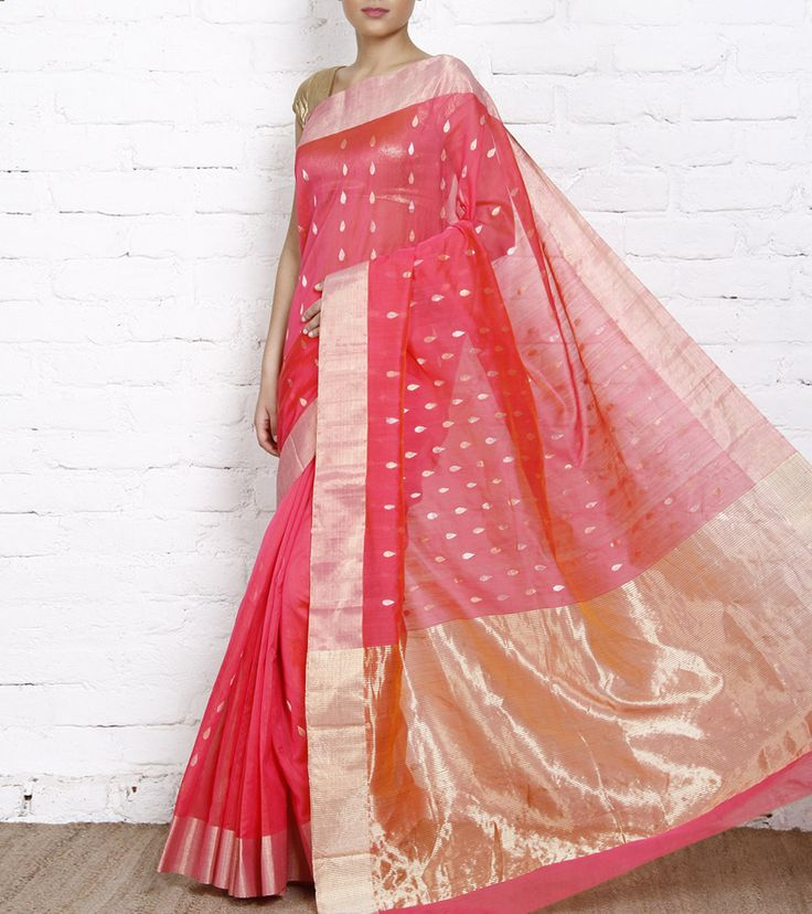 Red Cotton Chanderi Saree