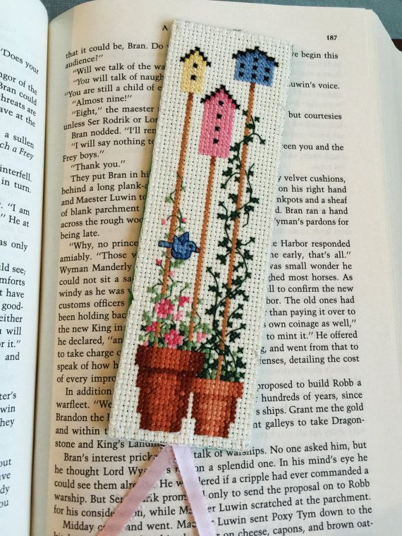 "Finished Cross Stitch Bookmark, 'My Backyard Flower II"" Cross Stitch Bookmark Handmade, Gift for Bookworm"