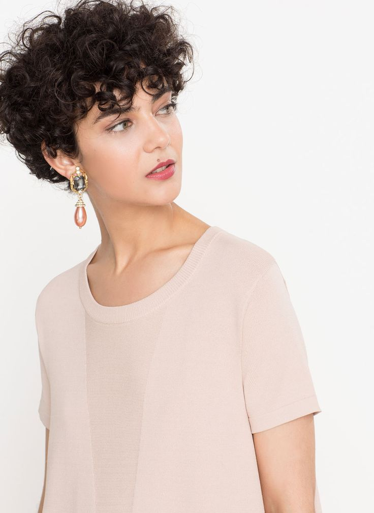 Pendiente joya perla - Ver todo - Última semana - Uterqüe España (Curly Hair Peinados)