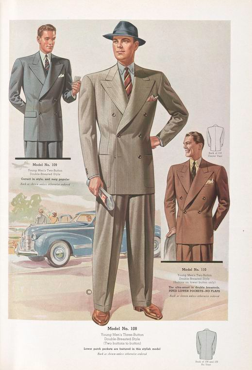 More 1940s suiting. I find 40s tailoring fascinating - the whole aesthetic is balanced around the juxtaposition between a boxy structured shape, which should be very close, and the rich flowing quality achieved by using excess cloth and a generous cut. A very intriguing effect which has never been emulated since.