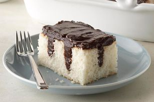 Chocolate Pudding Poke Cake recipe---Could you imagine this with all different kinds of pudding?!?!  Butterscotch!  Cheesecake!  French Vanilla!  How about mixing PB2 into French Vanilla and then pouring it!  OMG!  I would make my cake from scratch, though, to make it clean!