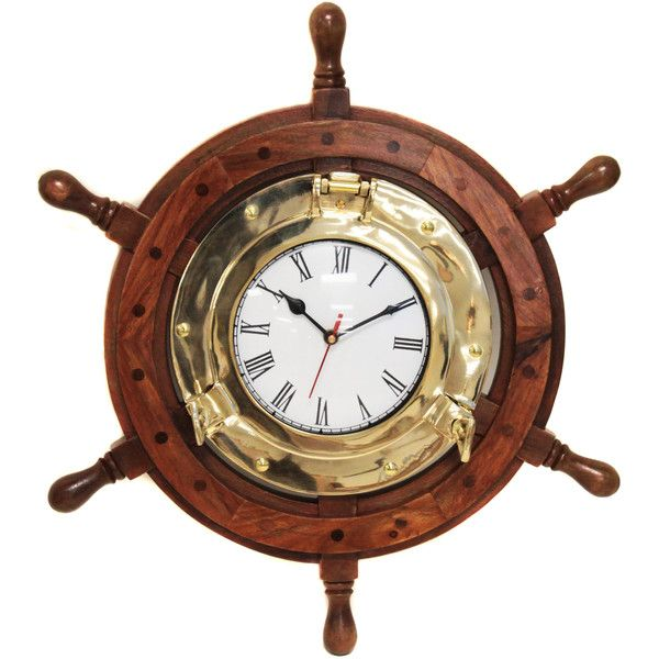 Casa Cortes Nautical Ship Wheel Brass Porthole Wall Clock ($90) ❤ liked on Polyvore featuring home, home decor, clocks, brown, nautical clock, nautical wall clocks, brown wall clock, brass clock and battery operated clocks