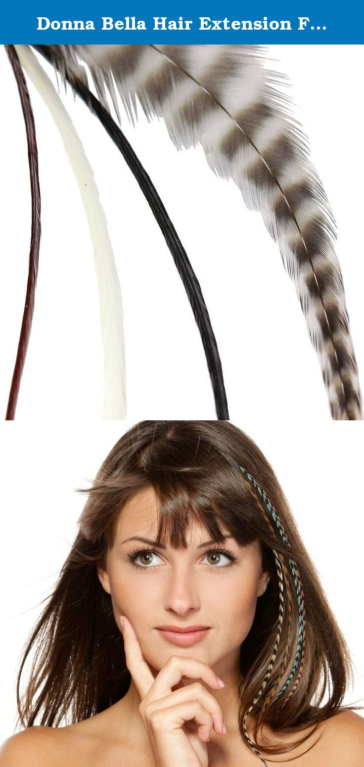 Donna Bella Hair Extension Feathers, Natural Variety, 7-12 Inches. Each package of hair feathers contains four one-of-a-kind, premium feathers. Each feather is unique and therefore will vary slightly in size, color and shape. However, you can expect your hair feathers to be approximately 7-12 inches in length. These unique feather extensions can help add exciting colors, texture and highlights to your hair. Blends with your natural hair and lasts for months. Donna Bella hair feathers are...