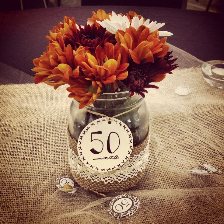 50th wedding anniversary party centerpiece projects i for Table decoration 50th birthday