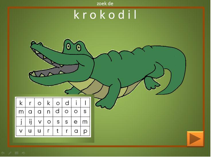 Een spel met letters. Kun je het woord krokodil vinden. Als je het gevonden hebt komt de krokodil te voorschijn. Woordzoeker