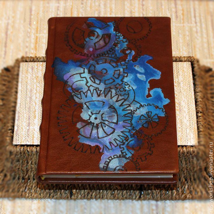 Купить Ежедневник «Шестеренки» - коричневый, ежедневник, ежедневник ручной работы, ежедневник в подарок, ежедневники