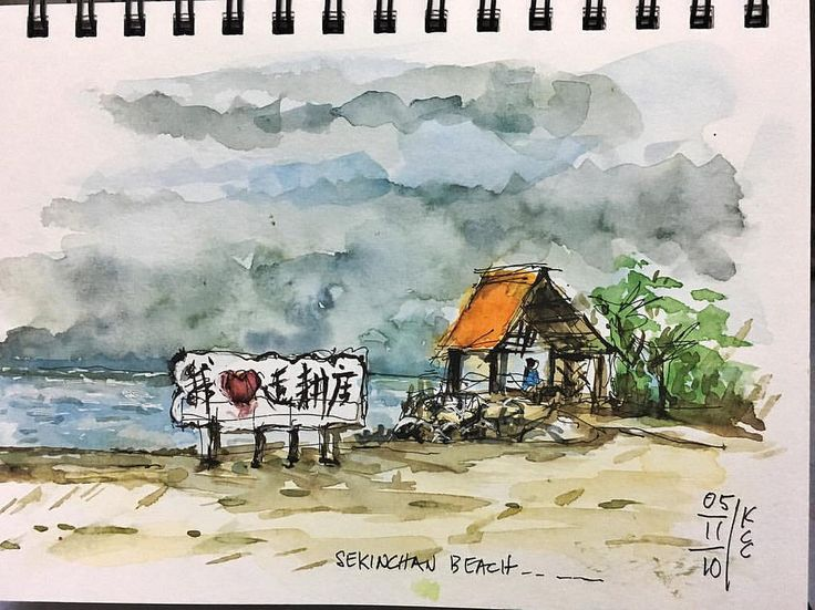 1st sketch during visit on Saturday 5/11. Sekinchan beach with storm brewing at the horizon. Sekinchan is a small town located in Sabak Bernam, Selangor, Malaysia. It is located along the coastal Federal Route 5. Apart from being a lively fishing village,
