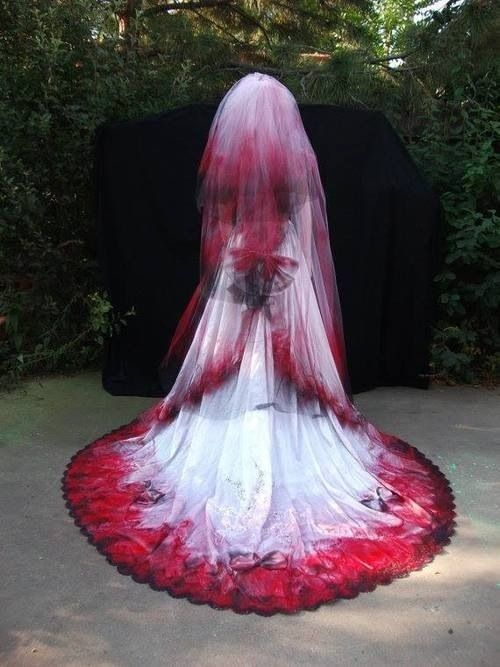 Gothic red white &black wedding dress with veil
