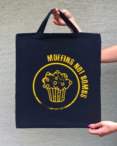 MUFFINS (torba bawełniana z którkim uchem, kolor czarny) - tylko 22,50 PLN