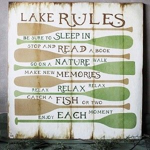 Wood Lake Rules Sign | Wood Wall Decor