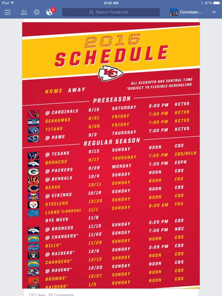 KC Chiefs schedule