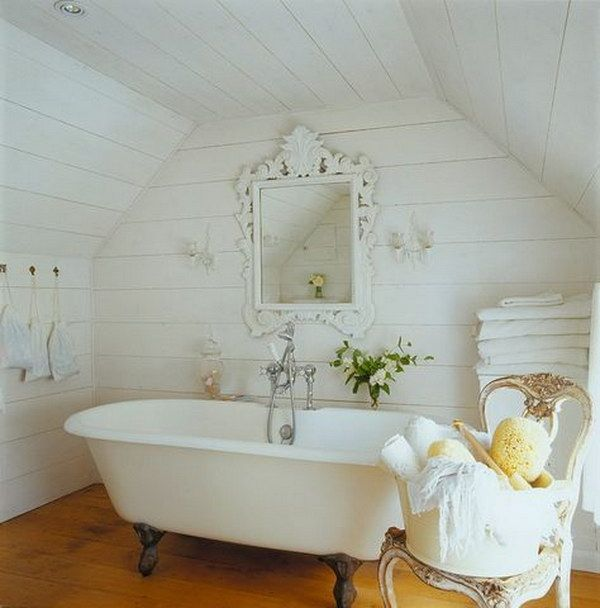 Rustic Cottage Bathrooms - planked walls and ceiling, painted white, natural wood flooring and a claw foot tub - Shelterness - Shabby Chic Bathrooms