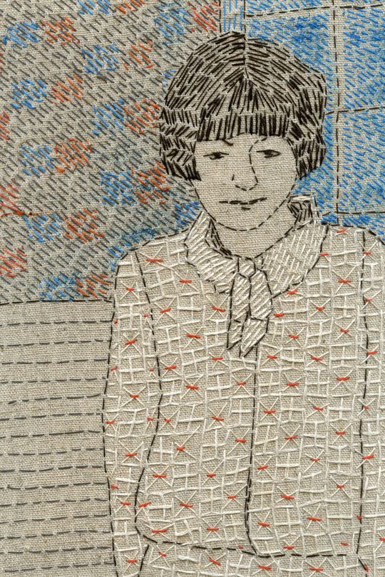 Embroidered portrait by Sue Stone                              …