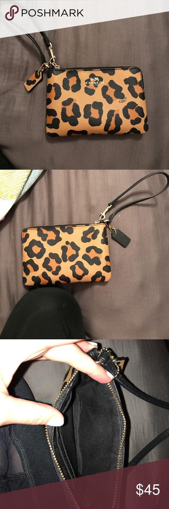 Coach Wristlet (Open to Offers) Brand New and never used (the tag fell off). It came directly from a coach store and is authentic. The outside is leopard print leather. The inside lining is black. There are two cars holding slots on the inside as well. This is a perfect accessory to carry alone or in a purse. It's also big enough to fit an iPhone 7 or smaller making it a excellent item for going out when you don't want to carry a large purse. I'm open to offers. No trades Coach Bags Clutches…