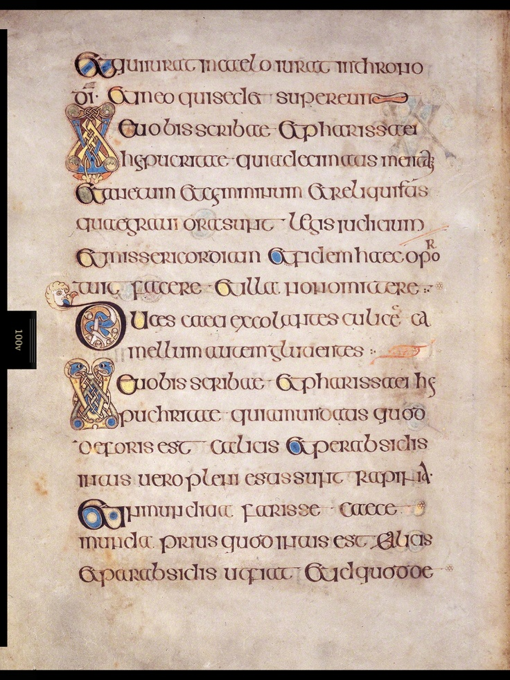 Gospel of St. Matthew Folio 100v is a page from the Gospel of St Matthew and provides a wonderful example of the density of invention which is often contained on a single page. As with modem bibles, the Book of Kells uses a system which makes it easy to identify particular sections or verses. The first page of a new section is invariably illuminated in either a human, animal, or abstract form. There are approximately 2,000 such letters throughout Kells, and each is different in shape and…
