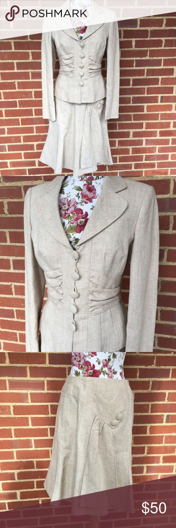 NINE WEST suit 2 piece skirt suit by Nine West- linen/ cotton blend with gold shimmer threading- great pleating and large buttons- flare style skirt- EUC- skirt zips in back- Nine West Skirts Skirt Sets