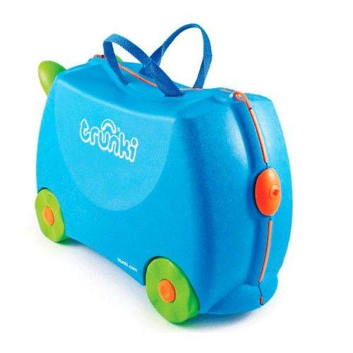 Maleta Trunki Terrance 49,95 €. Maleta infantil Trunki. Diseñada para que los niños se puedan sentar encima de maleta y ser remolcados. Muy estable y resistente.