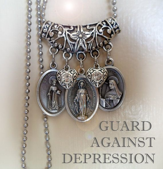 Guard Against Depression 3 Holy Medal Necklace  by MarysPrayers, $18.00
