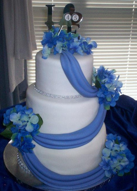 45th Wedding Anniversary Cake Adorned With Hydrangeas And Matching Draping Created By The Sweet Pea