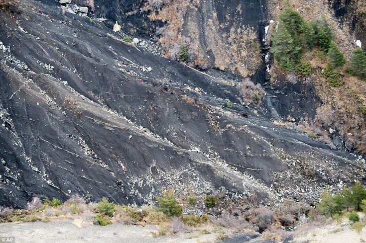 A photo provided by the Gendarmerie Nationale shows debris of the crashed Germanwings pass...