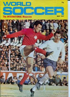 World Soccer magazine in March 1971 featuring Malta v England on the cover.